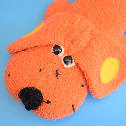 Vintage 1970s Small Towelling Dog - Orange