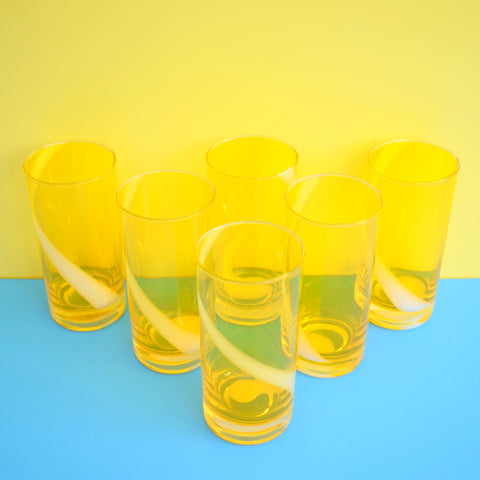 Vintage 1960s Quality Japanese Swirl Drinking Glasses - Sunny Yellow & White x6