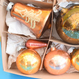 Vintage 1950s Mixed Glass Christmas Baubles / Decorations - Bronze & Brown (Boxed) .