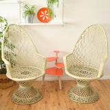 Vintage Fibreglass High Backed Strand Chair Pair - Russell Woodard - Cream