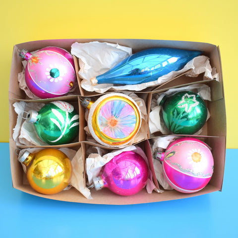 Vintage 1950s Hand Painted Medium / Concave Glass Christmas Baubles / Decorations - Pink, Green, Yellow, Blue - Boxed