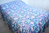 Vintage 1960s Double Bed Cover - Flower Power Barkcloth - Purple & Blue