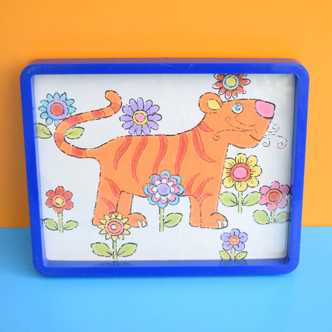 Vintage 1970s Kids Wallpaper Picture - Flower Power Tiger
