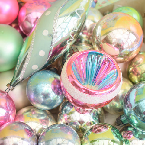 Vintage Mixed 1950s Glass Christmas Baubles / Decorations x 26 Concave - Mermaid Pastel colours