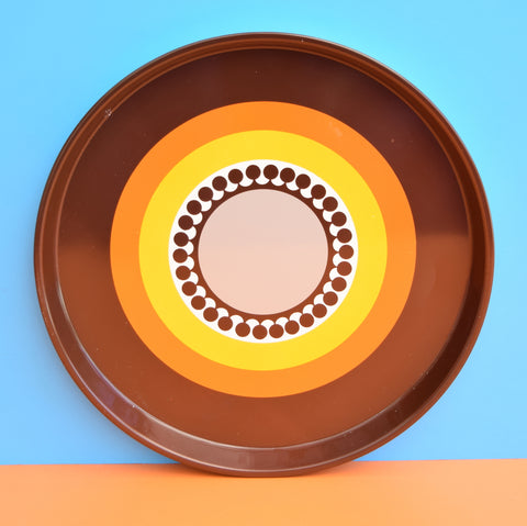 Vintage 1960s Round Tray - Flower / Geometric Design- Orange & Brown