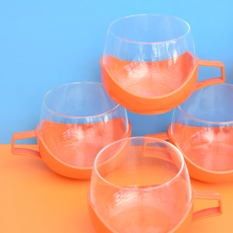 Vintage 1970s Glass / Plastic - Drink-Up Glasses - Orange x 6