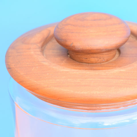 Vintage 1970s Glass / Teak Wood Large Jar GOODWOOD Teak