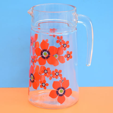 Vintage 1970s Glass Jug - French, Bright Flower Power Design, Red