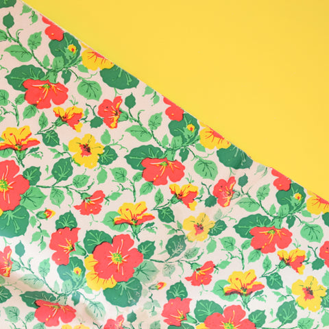 Vintage 1950s Gift Wrap Paper - Nasturtium Flowers - Multiples Available - Orange, Yellow, Green