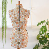 Vintage 1960s Paisley Fabric Covered Adjustable Mannequin - Orange & Brown