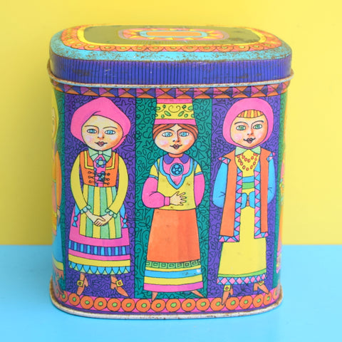 Vintage 1960s Keith Spicer's Tea Tin - Bright Colours