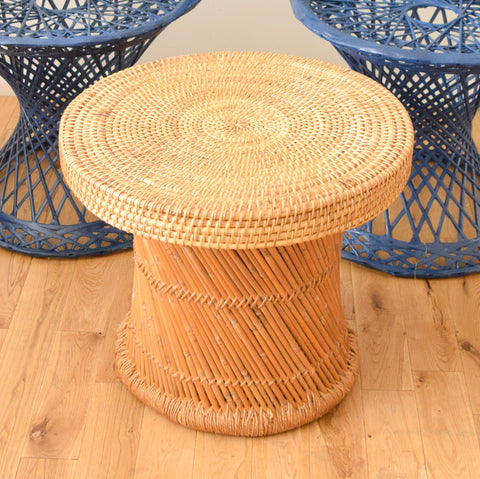 Vintage Wicker / Bamboo Side Table - On Trend