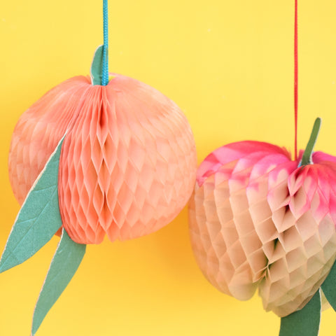 Vintage 1960s Honeycomb Fruit Decorations - x5