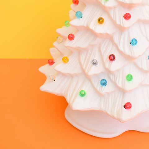 Vintage Ceramic Christmas Tree Light - Small - Matt White With Rainbow Bulbs