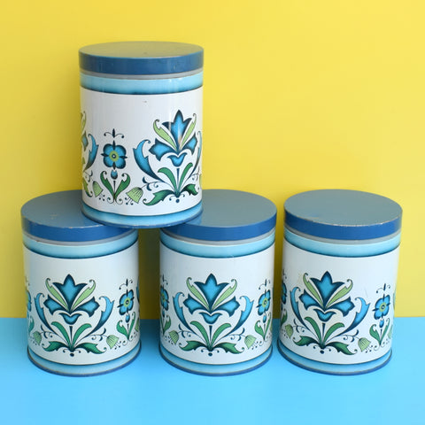 Vintage 1970s Flower Power Tin Canisters - Blue