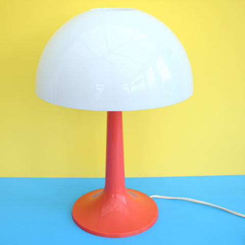 Vintage 1970s Rare Plastic Mushroom Lamp - Gilbert Softlite Inc - White & Red/Orange