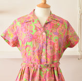 Vintage 1960s Fit & Flare Dress - Pink Psychedelic Size 14 -16 ish