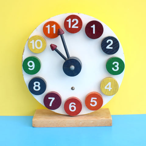 Vintage 1980s Wooden Clock Toy - Boots - Rainbow Colours