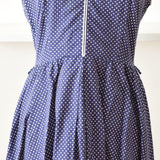 Vintage 1970s Pretty Fit & Flare Dress - Navy Blue & White Spots Size 12 ish