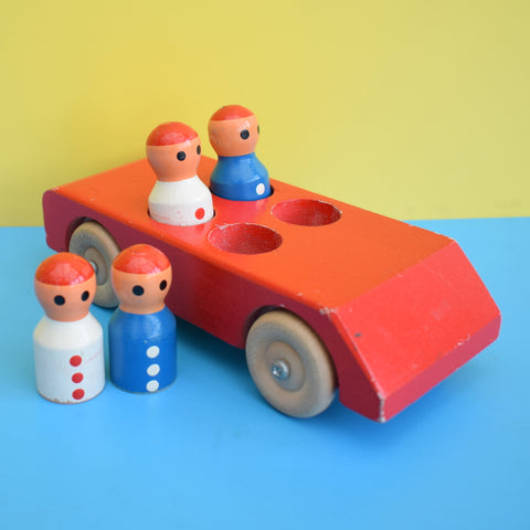 Vintage 1970s Wooden Car Toy With People - Escor Style - Red