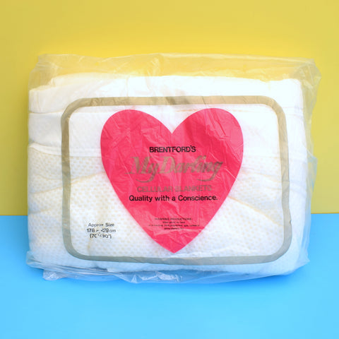 Vintage 1960s Brentford's 'My Darling' Blanket - White