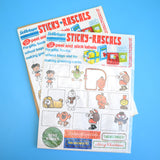 Vintage 1970s Mr Men / Magic Roundabout Gift Stickers / Labels - Sticky Rascals (32 Per Pack)