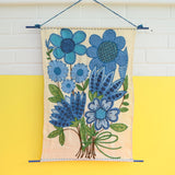 Vintage 1960s Taunton Vale Embroidered Wall Hanging- Flower Design, Blue