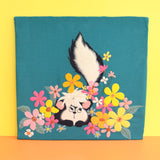 Vintage 1960s Embroidered Felt Wall Hanging / Picture - Flower Skunk - Disney