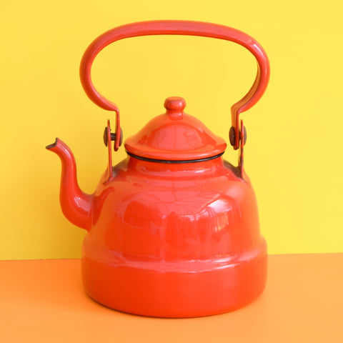 Vintage 1960s Small Enamel Tea Pot / Kettle - Red