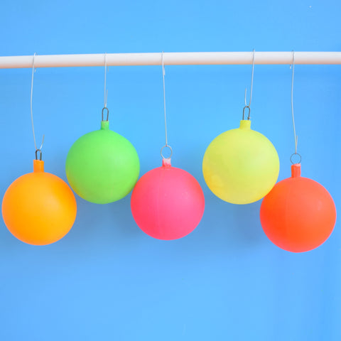 Vintage 1970s Shatterproof / Kid Proof Plastic Christmas Baubles - Fluorescent Colours