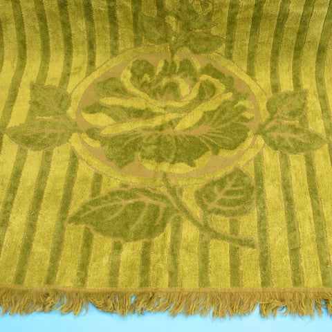 Vintage 1960s Cotton Bath Towel - Moss Green