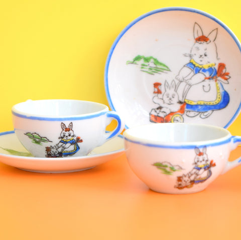 Vintage 1950s Childs Toy Ceramic Cups & Saucers - Cute Bunny Rabbit Print