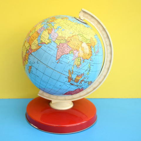 Vintage 1960s Small Tin Plate Chad Valley Globe - Red Base