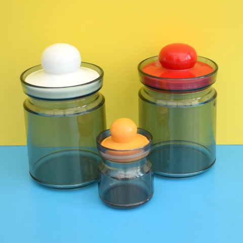 Vintage 1970s Plastic Containers (3) - Made In Denmark - Smoked & Red, Yellow, White