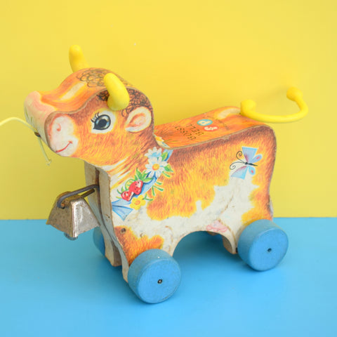 Vintage 1950s Fisher Price - Bossy Bell Cow - Classic Toy - Wooden - USA