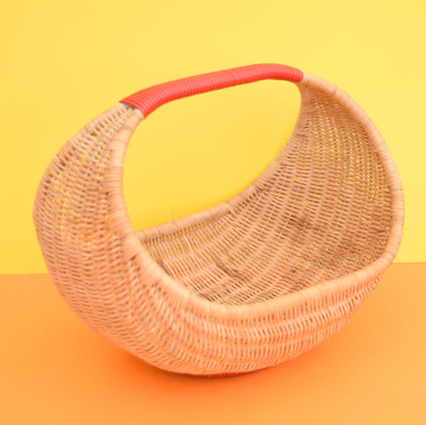 Vintage 1950s Childs Gondolier Shopping Basket - Great Display - Red & Wicker