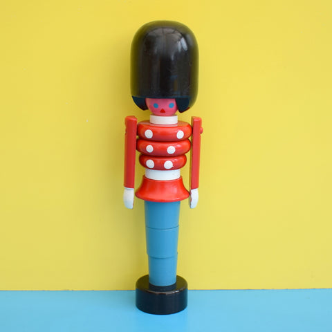 Vintage 1960s Wooden Stacking Toy - Bright Colours - Soldier