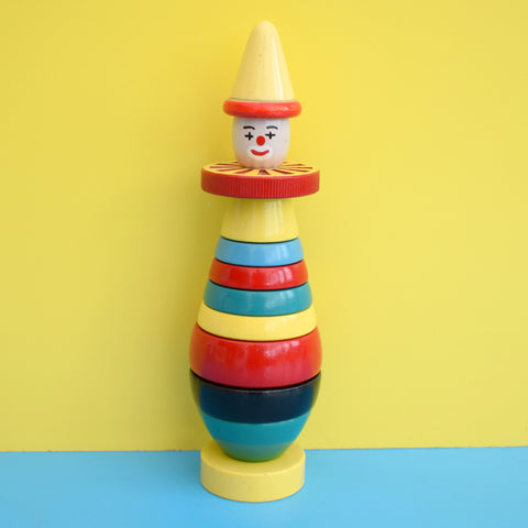 Vintage 1960s Wooden Stacking Brio Toy - Bright Colours - Clown