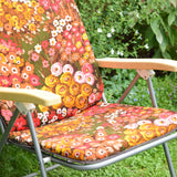 Vintage 1960s Reclining Folding Garden Chair - Flower Power - Orange & Pink