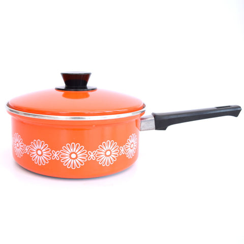 Vintage 1960s Enamel Sauce Pan - Orange & White Flower Power