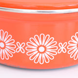 Vintage 1960s Enamel Sauce Pan - Orange & White Flower Power, Smaller