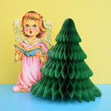 Vintage 1950s Honeycomb Paper Decoration - Angel With Tree (2 Designs)