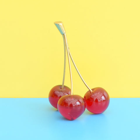 Vintage 1950s Cherry Ornament - Red Glass Cherries, Gold Stalk