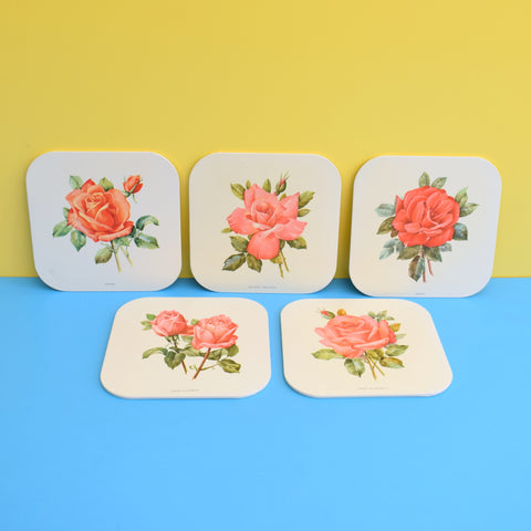 Vintage 1960s Metal Placemats - Roses