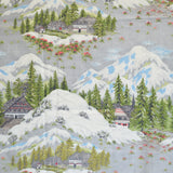 Vintage 1960s Fabric - Barkcloth - Festive Alpine Lodge Design