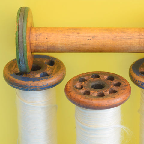 Vintage 1960s Wooden Bobbins Silk Thread - Great Display