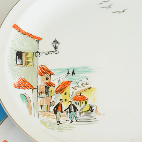 Vintage 1950s Kitsch Alfred Meakin Dinner Plate - Fishermans Cove - Orange, Green