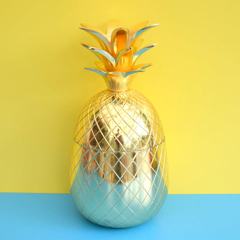 Retro Metal Pineapple Ice Bucket / Ornament, Brass Coloured - Large