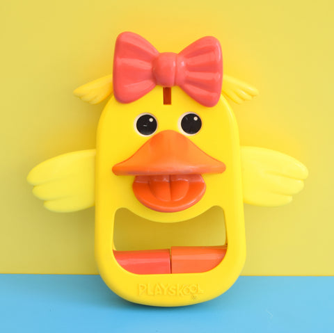 Vintage 1980s Happy Duck Toy - Yellow, Red Plastic