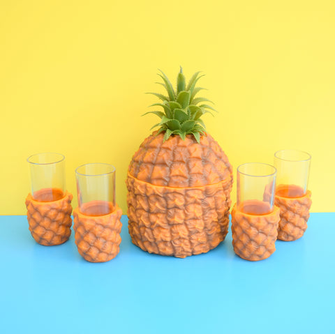 Retro 1960s Pineapple Ice Bucket & 4 Glasses - Plastic - Orange